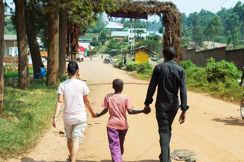 Heather and two of her boys, Rwanda.