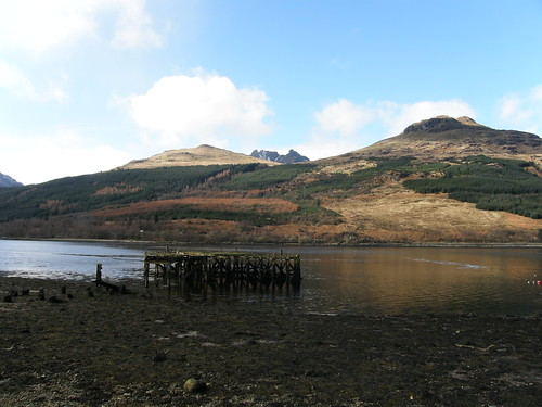 Loch Long and a delapidated pier