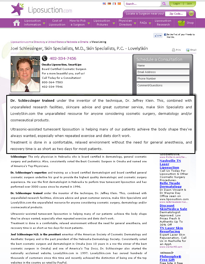 Joel Schlessinger MD - Tumescent Liposuction information