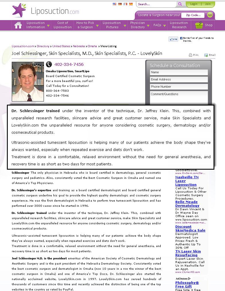 Joel Schlessinger MD - Tumescent Liposuction information