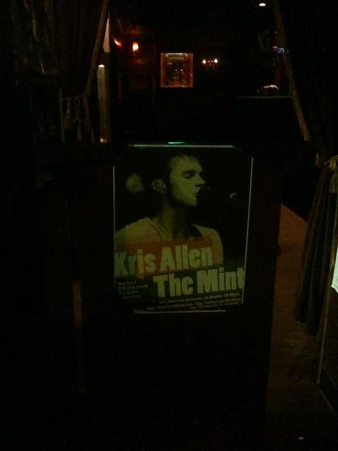 Kris Allen live at The Mint LA concert poster flyer