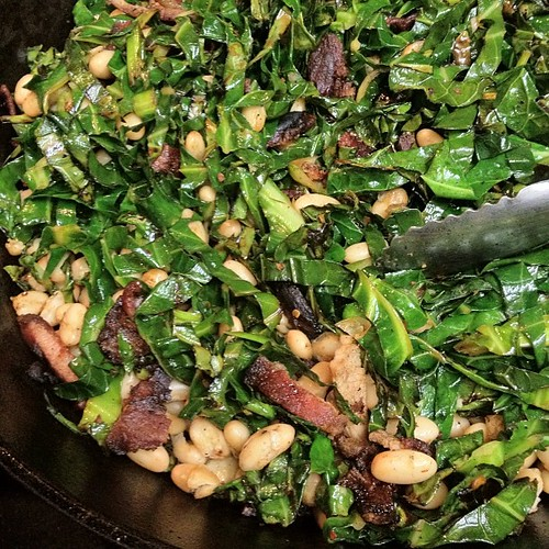Brussel Sprout Greens with Bacon - Tasty One-Skillet Recipe