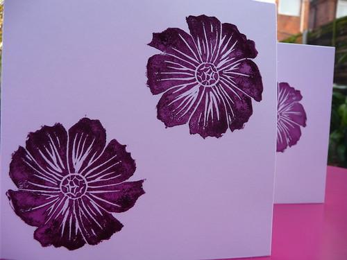 Cosmos bipinnatus linocut print card