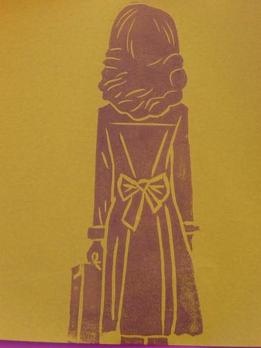 Liu Ye inspired linocut print