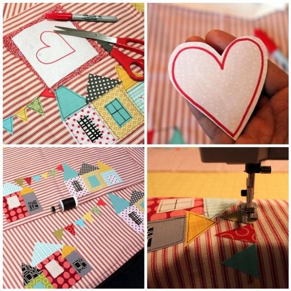 Add heart and black stitching