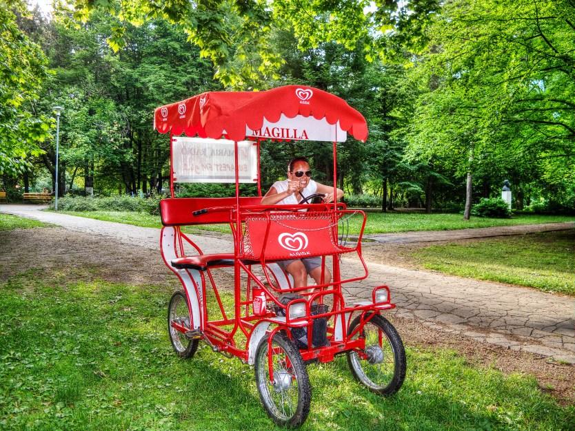 Heather on a cart bike, Margaret Island.