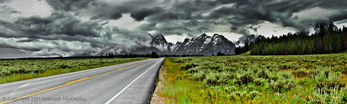 A 12 shot panorama of the Teton Range as seen from the Teton Park Road by Somnath Mukherjee Photoghaphy