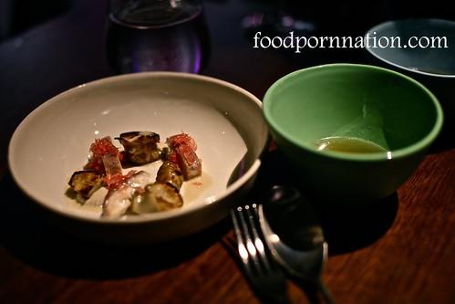 smoked eel, jerusalem artichoke and pink grapefruit served with broth