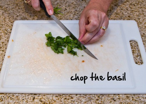 chop the basil