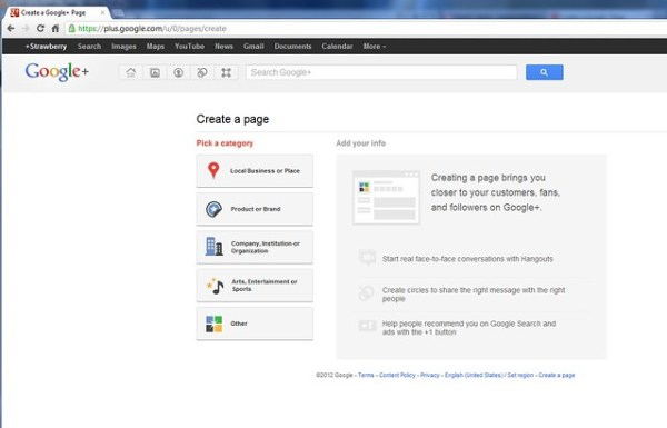 Create a Google+ Page for your SL Brand