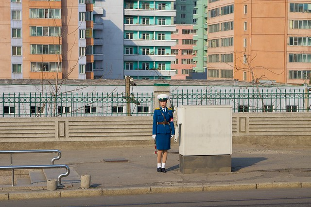 Pyongyang, North Korea Traffic Girl
