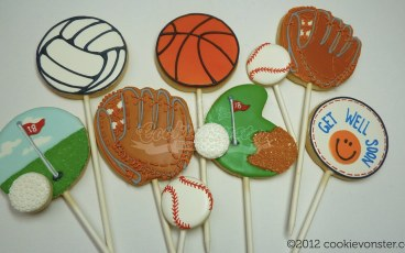 Sports themed cookie pops