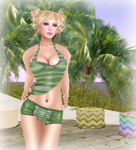 Tempting Sinsations @ The Wash Cart Sale - Colour Me Striped Green