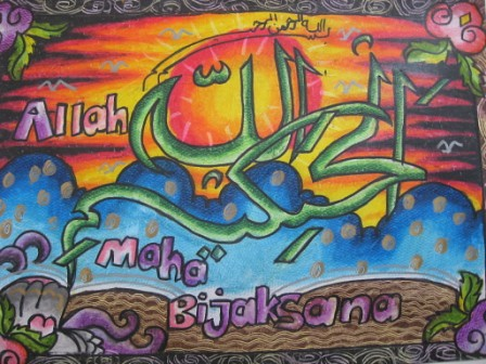 Contoh Gambar Cara Mewarnai Kaligrafi Allahu Akbar Kataucap