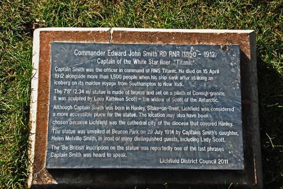 Captain Smith Statue Plaque, Lichfield