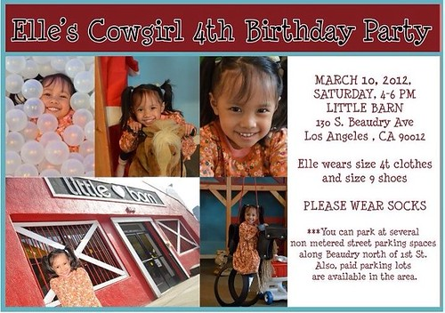 Elle's 4th birthday invitation