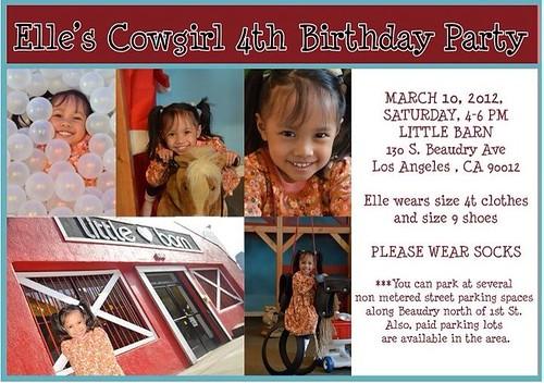 Elle's 4th birthday invitation