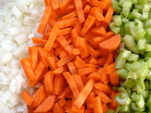 Chopped vegetables, ready to go into the pot