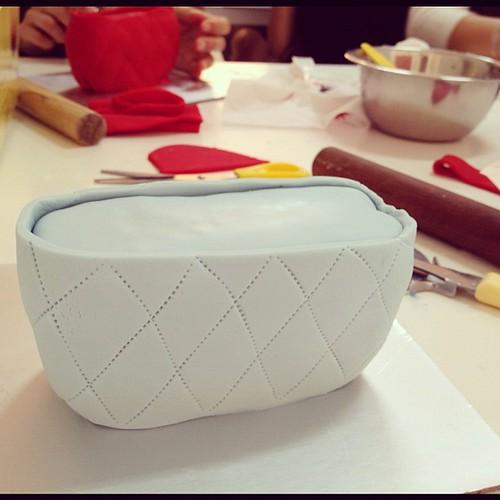 In class: handbag cake in the making!