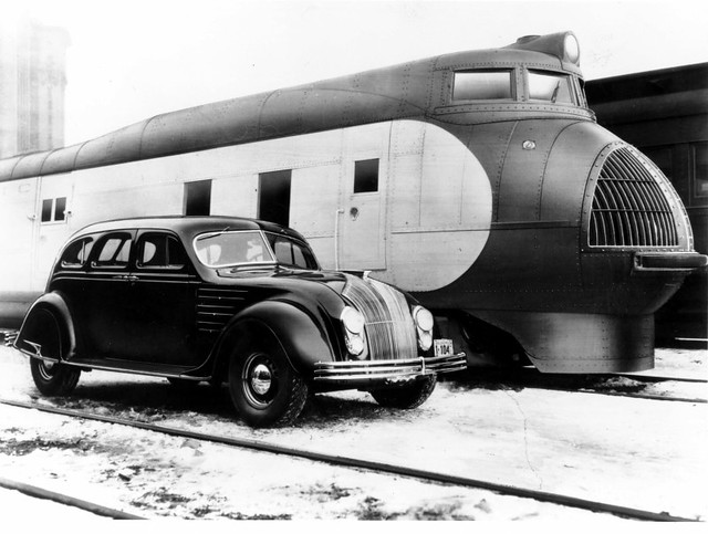 1934 Airflow and UP M-10000 'City of Salina' train