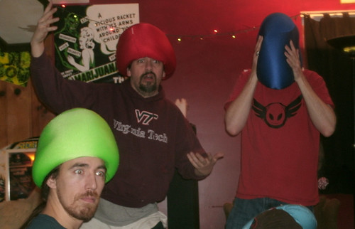 20110116 1725 - Clint's 37th birthday party - day 2 - 808, Clint, TwoBeans - microbead pillow hats, funny faces - (by the 8's) - GEDC5431