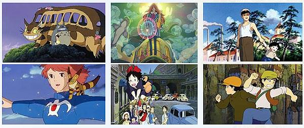 Stills from various animated feature films by Hayao Miyazaki