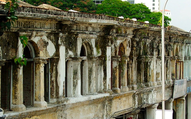derelict row of shophouses in the heart of town