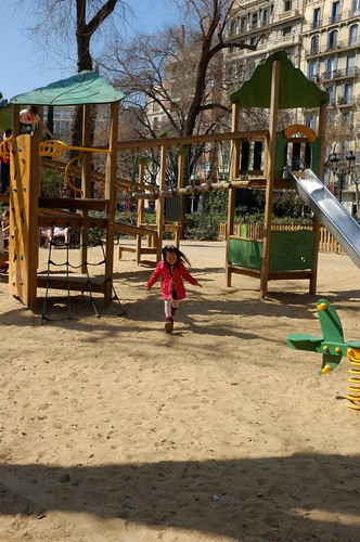 playground in front of La Sagrada Familia