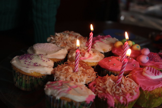 Cupcakes lavishly decorated by the kids