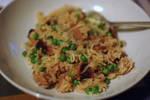 Leftover Bo Ssam with Rice and Peas