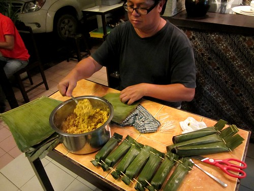Peter making otak-otak
