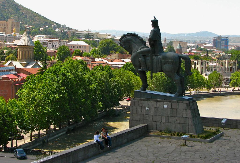 he Metekhi Church and the equestrian statue of King Vakhtang Gorgasali