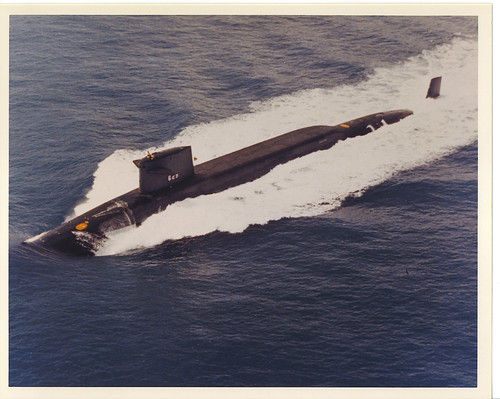 Lafayette class submarine SSBN 629 underway on surface photographed from air.
