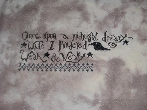 Progress Stitching the Raven by La D Da