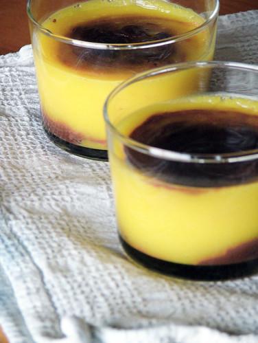 Orange mousse with dark chocolate