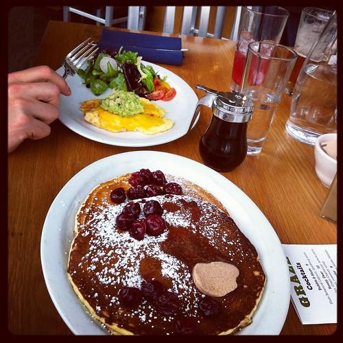 Eggs and pancakes @Graze
