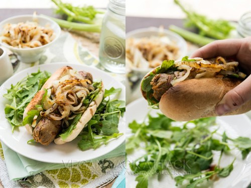 These apple fennel seitan dogs are a summertime necessity! Grilled onions and fennel, fresh arugula, and a homemade seitan sausage recipe.