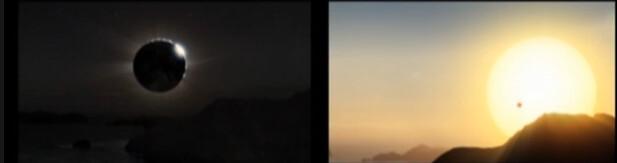 Un eclipse total de sol y un tránsito de Venus (ese puntito negro que se ve sobre la superficie brillante del astro rey).