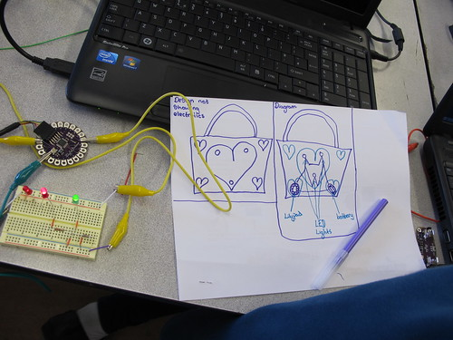 End of day 1 Lilypad Arduino circuit ideas