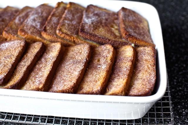 custard-soaked, then baked