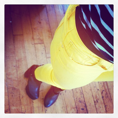 Bold for spring! Yellow pants and stripes!