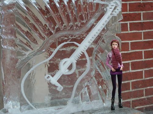 Poppy on the Sherman Theater ice sculpture