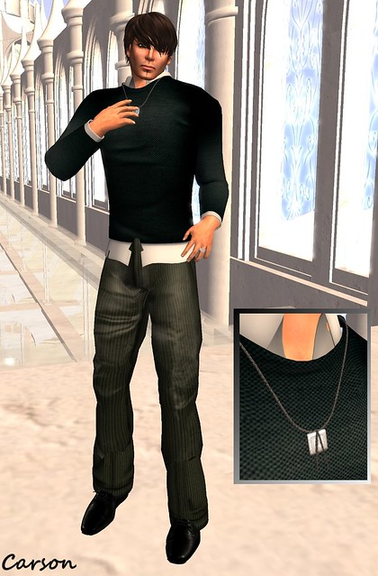 Ydea - Mesh Shirt, Hell Bop Clothing - Louis Olive Corduroy Pants, Jeannie's Jewels - Leather Necklace w Silver Pendant