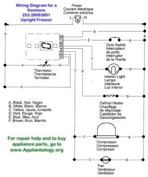 Wiring Diagram for a Kenmore 25328093801 Upright Freezer