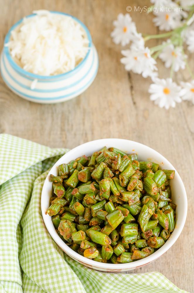 Sauteed Green Beans with Kolhapuri Masala, Green beans stir fry, Sauteed Green Beans, 3 Ingredient Recipes, Green Beans, Beans Koora,
