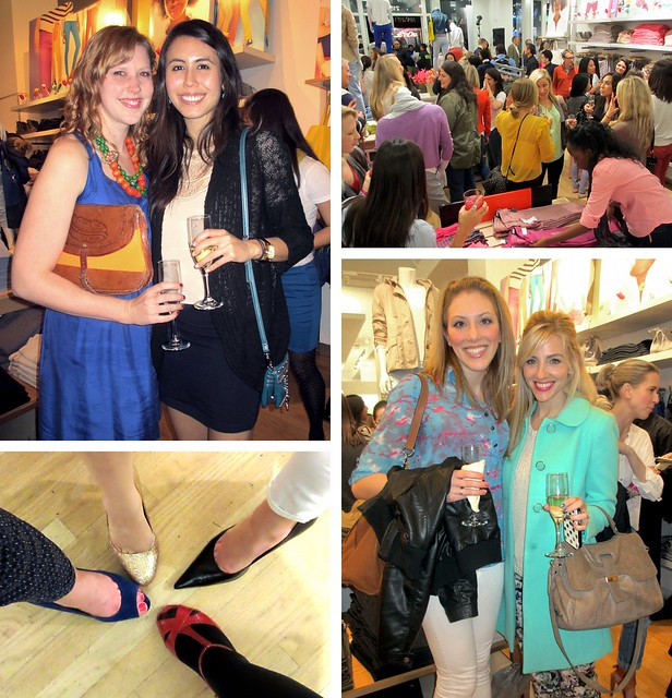 Clockwise from top left: Katie and Lindsay; party scene at Gap; Taylor of The Glitter Guide and Sarah of Sarah's Ambitions; requisite shoe shot!