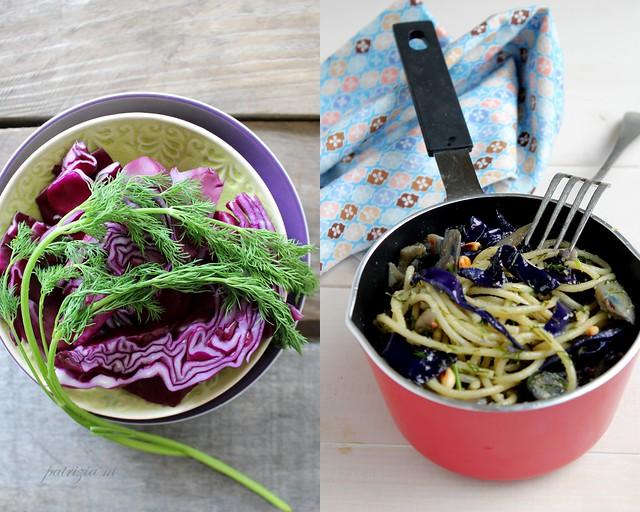 verza viola,spaghetti e....