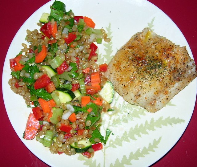 Vegan Wheatberry Salad & Sauteed Cod