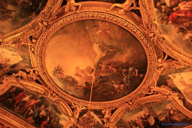 Beautiful ceiling in one of grand Salons in Palace of Versailles