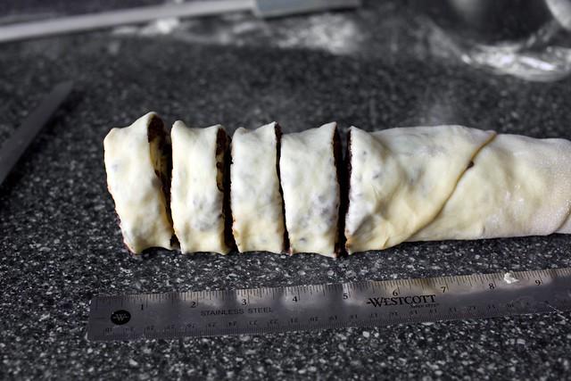 sliced into 1-inch segments